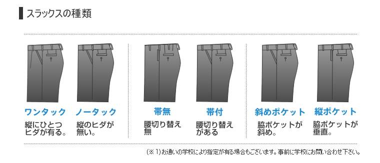 学生ズボン、色々なタイプが掲載された画像です。